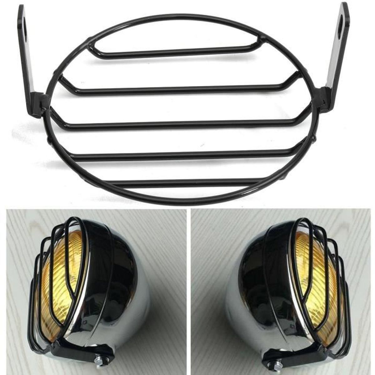 6 4 moto grille r tro phare lampe headlight couvre pour yamaha suzuki kawasaki achat vente. Black Bedroom Furniture Sets. Home Design Ideas