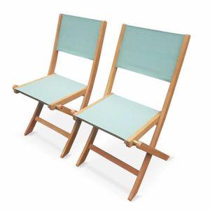 Ensemble table et chaise de jardin Chaises de jardin en bois et textilène - Almeria v