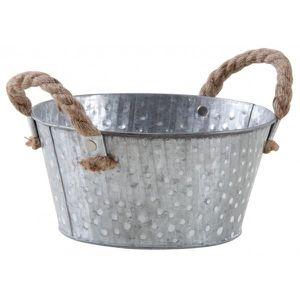 CAISSE BOIS Corbeille métal à pois blanc avec anses Argent