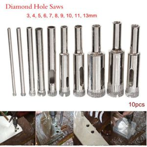10 x 3 ~ 18 mm Diamond Drill Bit Set Hole Saw Cutter Outils Verre Marbre Granit