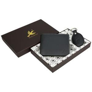 PORTE MONNAIE Porte-monnaie en cuir noir hommes et porte-clés LN