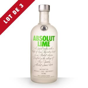 VODKA 3x Absolut Lime (Citron Vert) - 3x70cl - Vodka