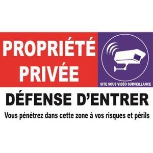 30 x 10 cm 2 Panneaux PVC dissuasion propriété sous vidéo surveillance