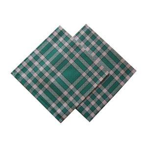 SERVIETTE DE TABLE Lot de 2 serviettes carreaux vertes 50x50cm