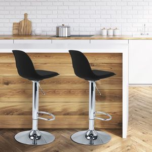 TABOURET DE BAR Lot de 2 tabourets de bar design noir