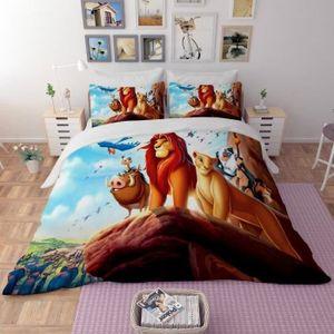 HOUSSE DE COUETTE SEULE Parure de lit Le Roi Lion 3D effet 160*210cm  3 pi