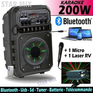 PACK SONO ENCEINTE PORTABLE 200W AVEC USB, BLUETOOTH & FM +