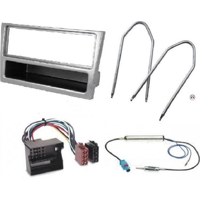 Kit Adaptateur Autoradio 1DIN avec vide-poche argent Opel Corsa C + ISO + FM + Cles - ADNAuto - KITFAC100.014