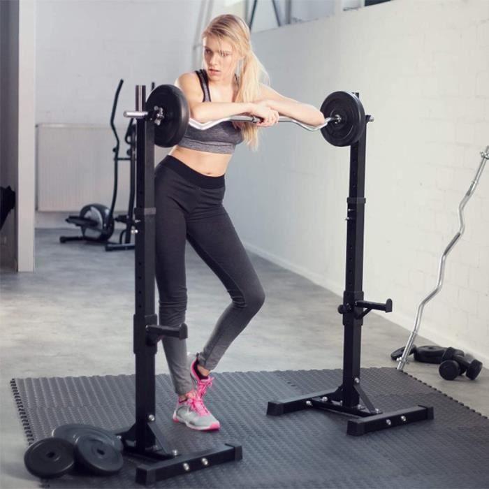 YIDS Repose Barre Musculation Support De Haltère Rack A Squat Réglable En Hauteur 80-150cm
