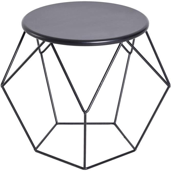 Homcom Table Basse Ronde Design Industriel néo-rétro dim. 54L x 54l x 44H cm Plateau Ø 40 cm Acier Noir[138]