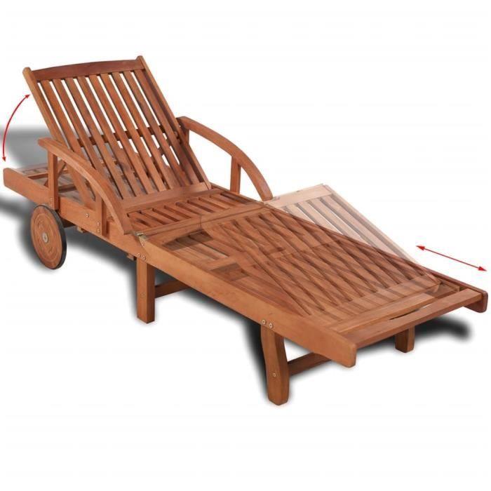 KAI Chaise longue Bois d'acacia solide #2