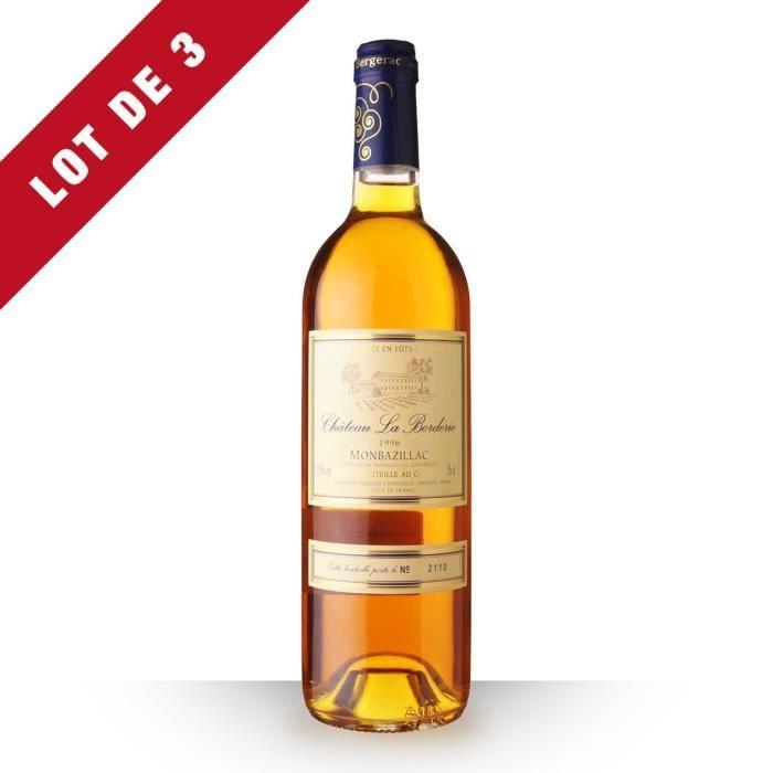 Lot de 3 - Château la Borderie 1996 AOC Monbazillac - 3x75cl - Vin Blanc
