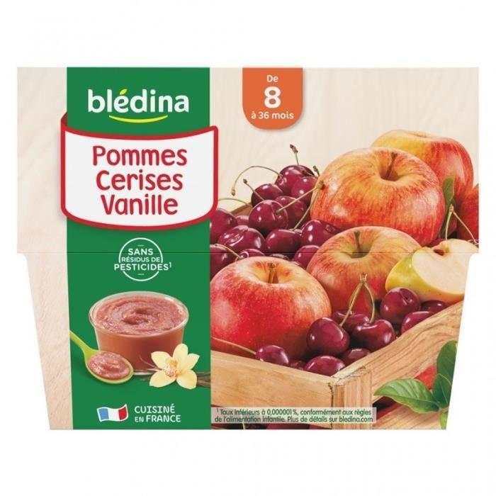 Blédina Pommes Cerises Vanille (de 8 mois à 36 mois) par 4 pots de 100g (lot de 6 soit 24 pots)