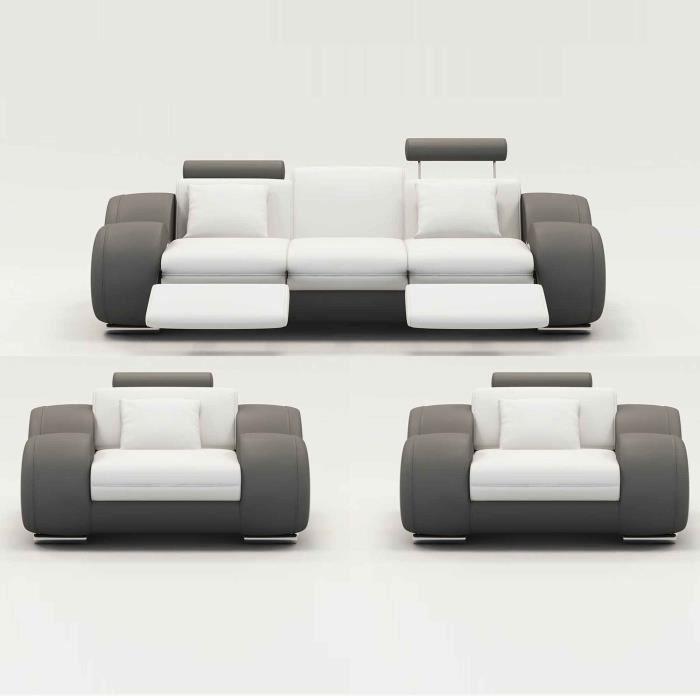 Ensemble canapé relax 3+1+1 places blanc et gris OSLO