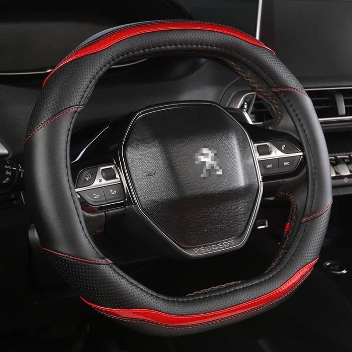 Couvre volant,Pour Peugeot 3008 4008 5008 Rifter Partner couverture de volant de voiture en fibre de carbone + PU cuir- Type Rouge#B