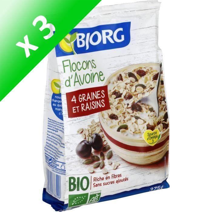 [LOT DE 3] Bjorg Flocons d'Avoine Graines Raisins 375g