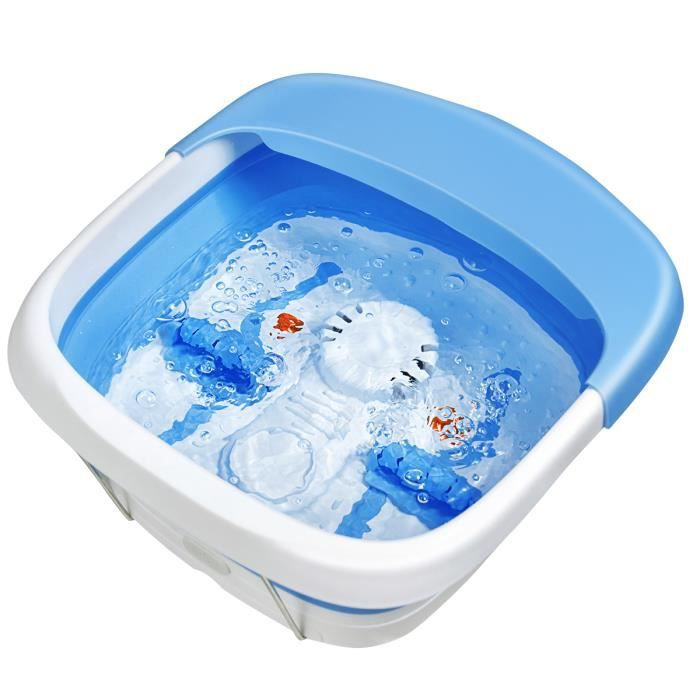 DREAMADE Bain de Pieds Electrique Massage Pliable avec Rouleaux de Massage &Massage à Bulles, Masseur de Pieds avec Accessoires