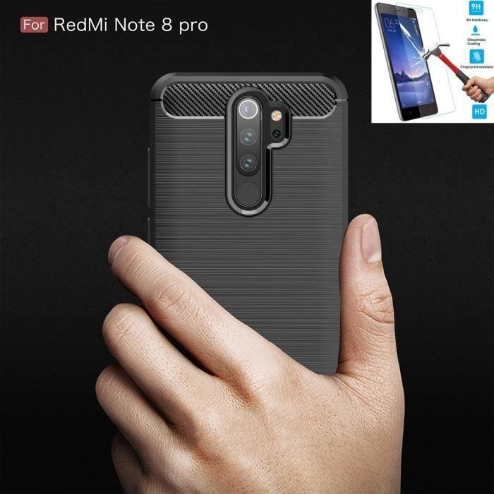 Coque Pour Xiaomi Redmi Note 8 Pro Carbone Noir + Film Verre Trempé Housse Etui En Silicone Gel Souple hfs-house®
