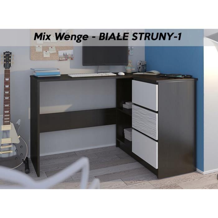 REX W - Bureau d'angle + rangements + 3 tiroirs - 112x87x76 - Table d'ordinateur- Table de travail - Wengé Blanc