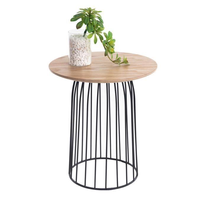 Table basse de salon SALAMANCA table à café table d'appoint bout de canapé design retro, décor bois naturel et pied en métal noir