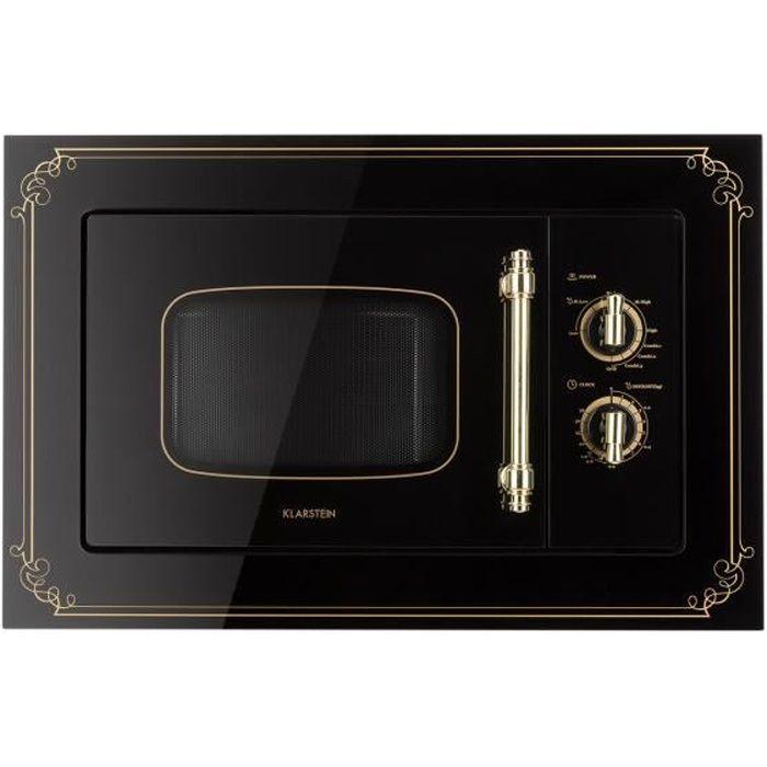 Klarstein Victoria 20 - Four micro-ondes grill combiné - Encastrable - 20L - 800 W - Grill 1000W - Style rétro - Noir