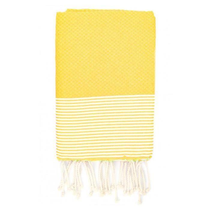 Fouta 100 cm x 200 cm Ziwane jaune rayures blanches - 100% coton - finition franges