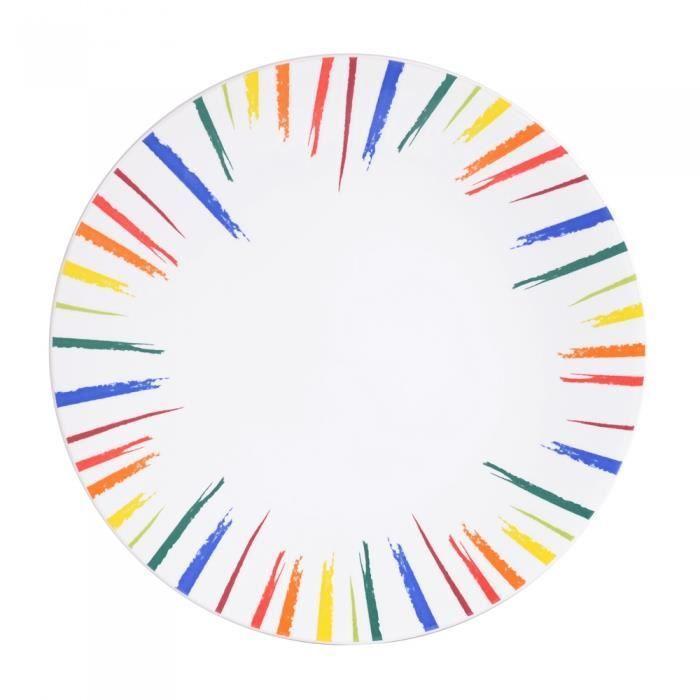 Assiette plate soleil 27.5 cm little marcel (lot de 6) Multicolore