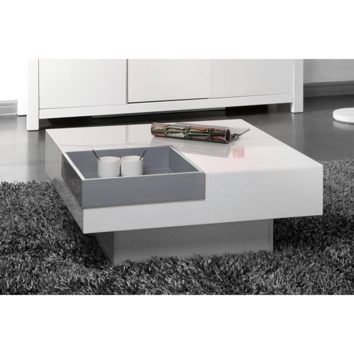 Miliboo - Table basse design laquée blanche plateau gris amovible TEENA