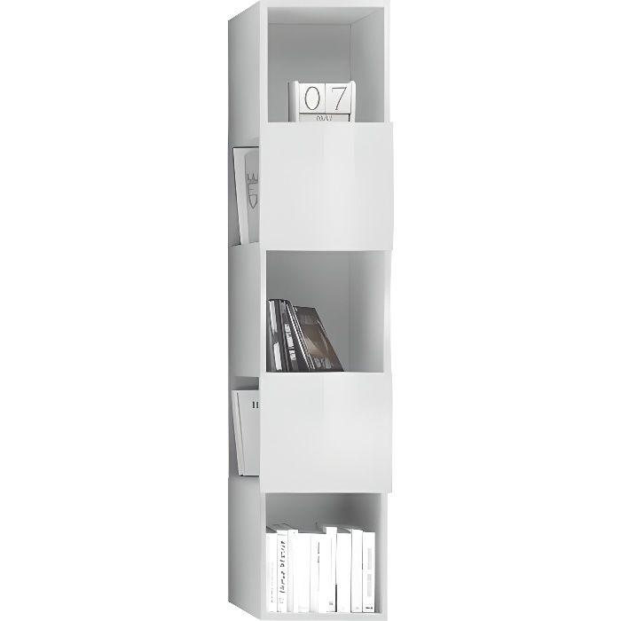 Miliboo - Etagère murale verticale 5 rangements laquée blanc brillant ETERNEL