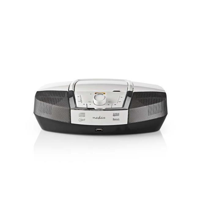 boombox - 12 w - bluetoothâ® - lecteur de cd - radio fm - usb - aux - blanc