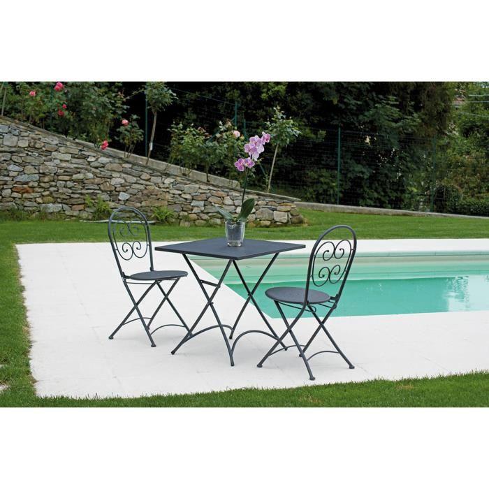 Ensemble de jardin table pliante + 2 chaises en fer forgé coloris gris - A USAGE PROFESSIONNEL