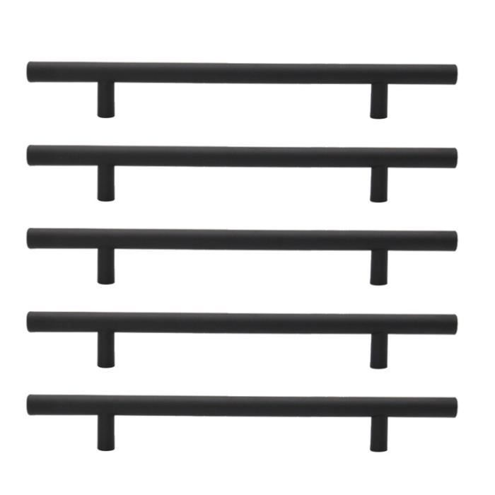 5 pièces poignées d'armoire meubles en acier inoxydable boutons de porte noir pour cuisine POIGNEE DE MEUBLE - BOUTON DE MEUBLE