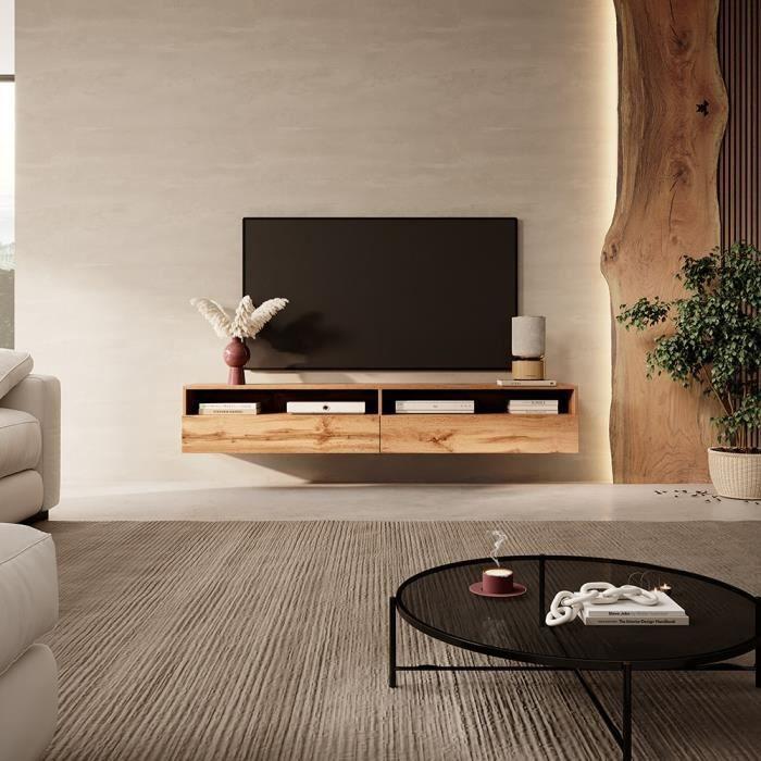Meuble TV - REDNAW - 180 cm - chêne wotan - 2 niches ouvertes - style moderne