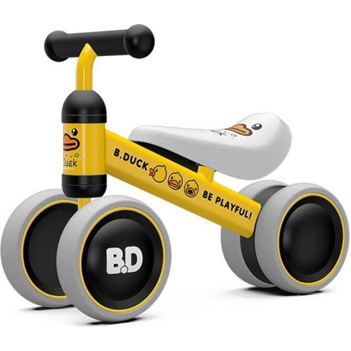 Vélo Enfant 1 an Porteur Bébé Moto Jouet Enfant 10-18 Mois Véhicule sans Pédale Canard jaune