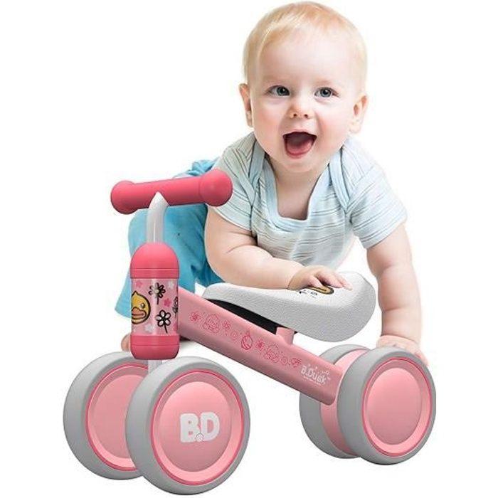 SWAREY Vélo Enfant 1 an Porteur Bébé Moto Jouet Enfant 10-18 Mois Véhicule sans Pédale Canard rose