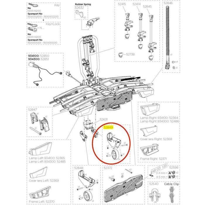 Transporteurs Pièces détachées Thule Right Wheel Holder 52849 Easyfold Xt 933 - 939 - Taille Unique - Noir