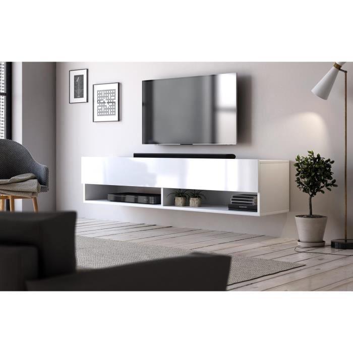 VIVALDI Meuble TV - DERBY 2 - 140 cm - blanc mat / blanc brillant - style moderne