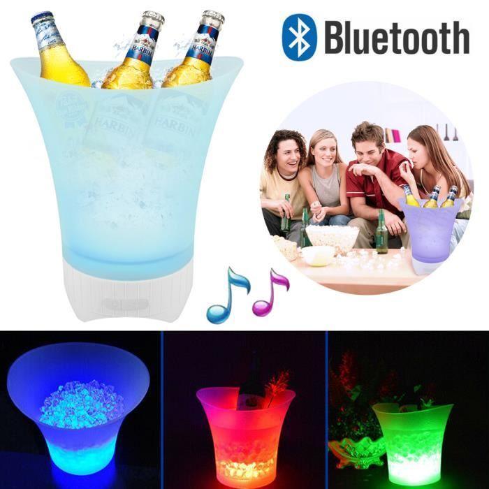 Seau à glace LED à couleur changeante 7 couleurs - Pour champagne, vin, boissons, bière - Pour bar, fête