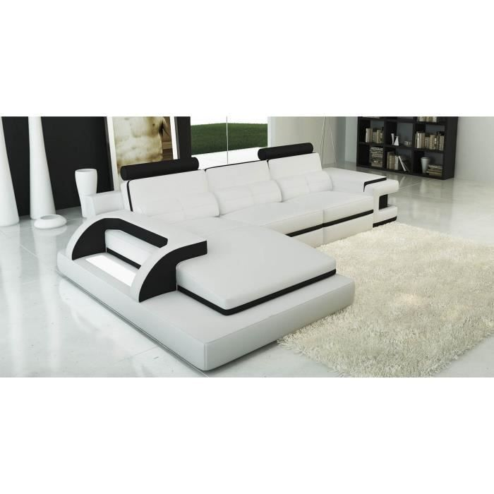canap d 39 angle design en cuir blanc et noir scolo achat vente canap sofa divan soldes. Black Bedroom Furniture Sets. Home Design Ideas