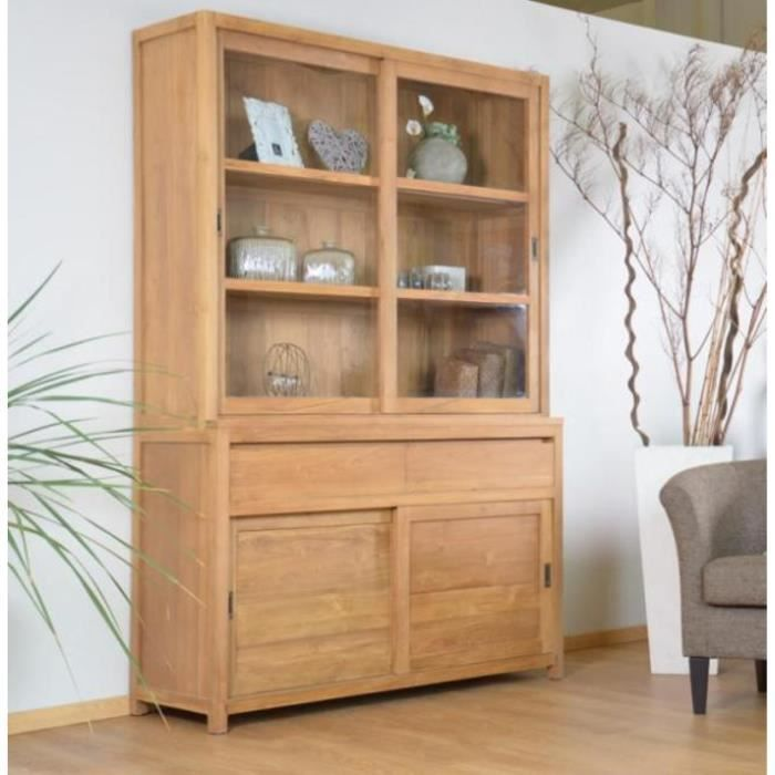 meuble avec vitrine vaisselier teck walk natura 160 cm tiroirs achat vente vitrine. Black Bedroom Furniture Sets. Home Design Ideas