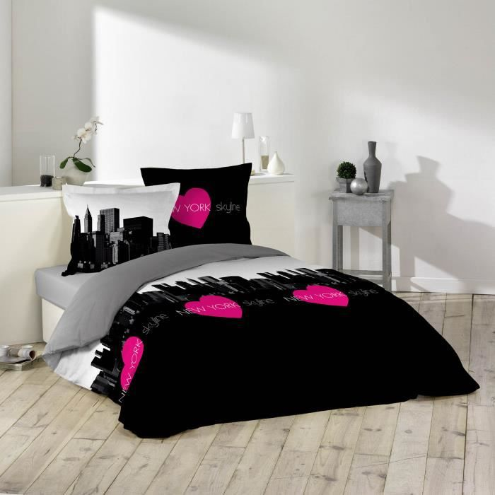 housse de couette 220x240 coeur skyline 100 coton 2. Black Bedroom Furniture Sets. Home Design Ideas