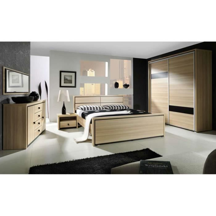 Chambre coucher compl te design boston lit achat for Achat chambre a coucher complete