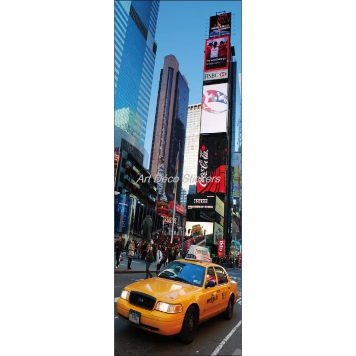 Affiche poster pour porte trompe l oeil new york taxi for Decoration porte new york