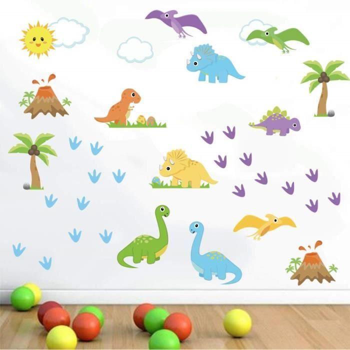 Decalmile Stickers Muraux Enfant Dinosaure Coloré ...