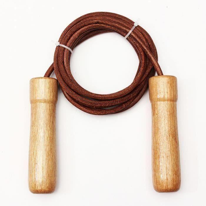 Corde à sauter en cuir manche en bois Corde à sauter longueur réglable