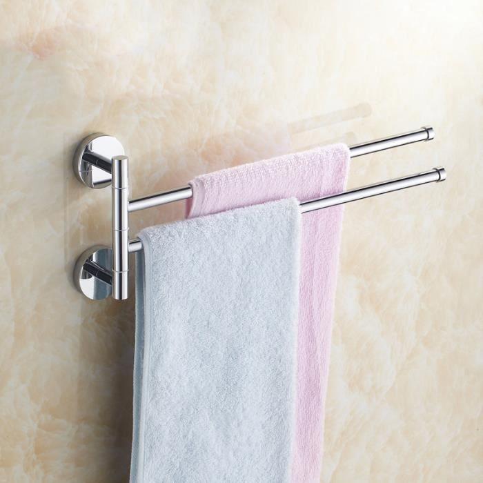 avec 2 bras mobiles en acier inoxydable bross/é Porte-serviettes mural LOLPI pour la salle de bain