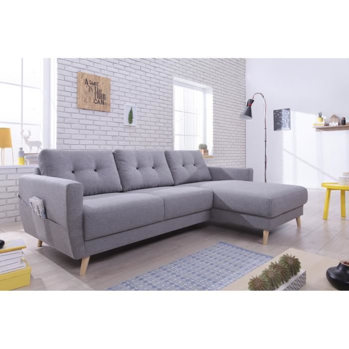 oslo canap scandinave d 39 angle droite gris clair 225x147x86cm achat vente canap. Black Bedroom Furniture Sets. Home Design Ideas