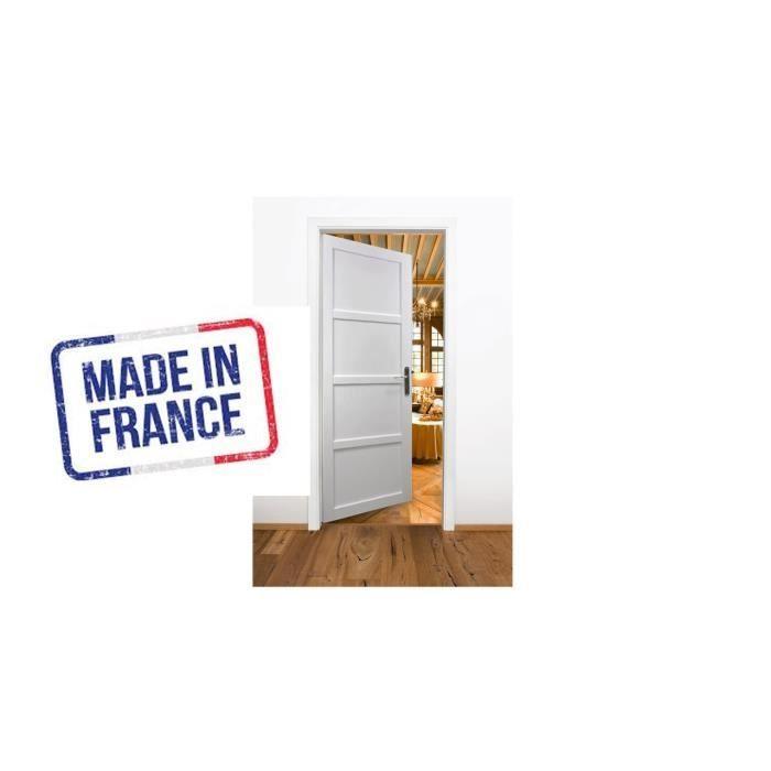 Made In France Bloc Porte Enrobe Blanc 4 Panneaux Largeur 83 Cm Poussant Gauche Promo 20