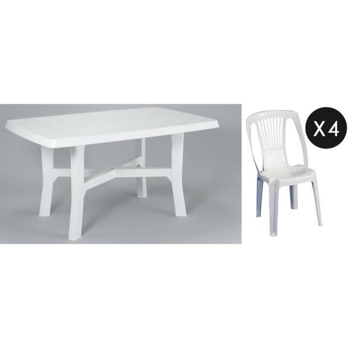 ensemble table 4 chaises plastique blanc achat vente salon de jardin ensemble table 4. Black Bedroom Furniture Sets. Home Design Ideas