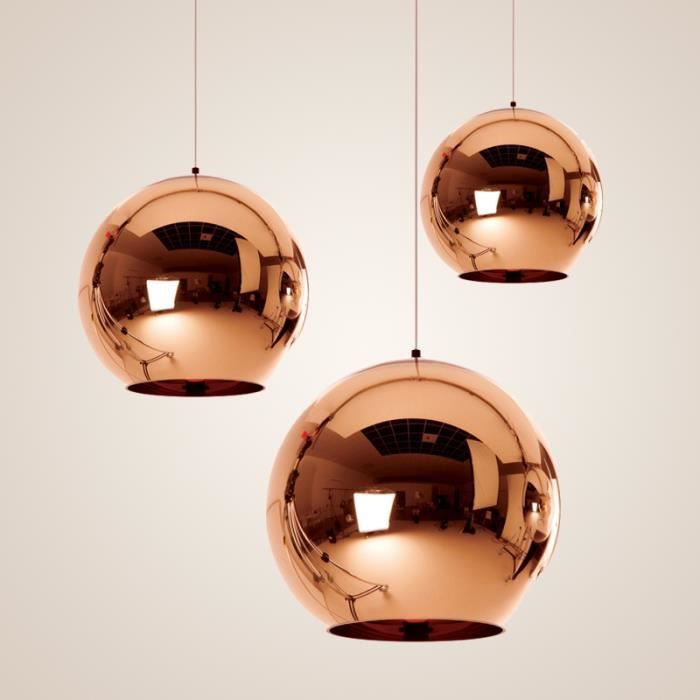 luminaire moderne suspension boule cuivre miroir achat vente luminaire moderne suspensio. Black Bedroom Furniture Sets. Home Design Ideas